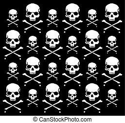 crossbones, y, cráneo, patrón