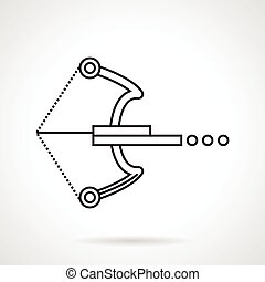 Crossbow black line vector icon