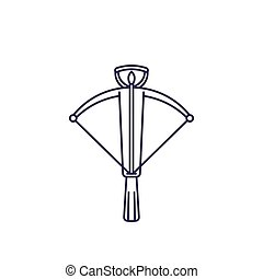 crossbow, line vector icon on white