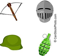 Crossbow, medieval helmet, soldier's helmet, hand grenade. Weapons set collection icons in cartoon style vector symbol stock illustration web.