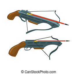 Crossbow with arrow. Weapon and archery. flat icon.