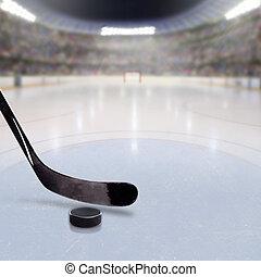 crosse, hockey, glace, arène, lutin, bondé