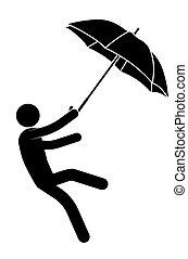 crosse, vent, sien, feet., personne, fond, ne pas pouvoir, pluvieux, blanc, vecteur, fort, porté, mauvais, homme, séjour, protection, parapluie, santé, il, weather.