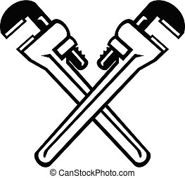 Crossed Adjustable Pipe Wrench or Monkey Wrench Retro Black and White