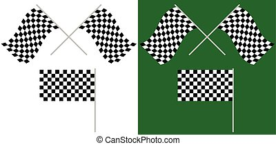 Crossed and single racing, race flags isolated on white / green. for auto-, motorsport, championship concepts