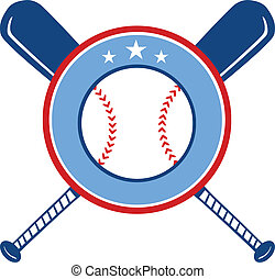 Crossed Baseball Bats And Ball Banner. Illustration Isolated...
