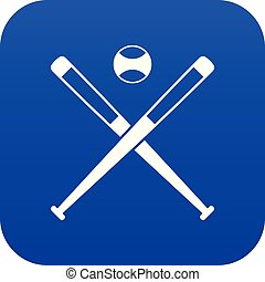Crossed baseball bats and ball icon digital blue