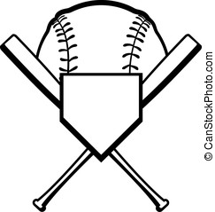 Crossed Bats with Baseball - Design with home place, crossed...