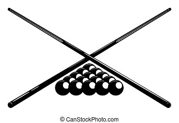 Crossed billiard cues and pool ball set. Symbol, emblem of billiard competition. Sports equipment. Vector