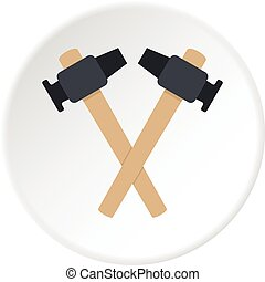 Crossed blacksmith hammer icon circle