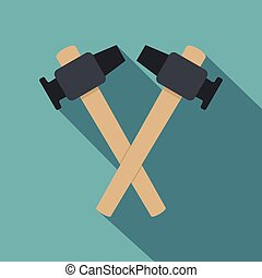 Crossed blacksmith hammer icon, flat style