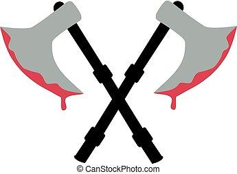 Crossed bloody medieval axe