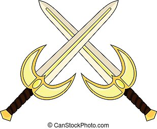 Crossed Cartoon Holy Sword isolated on white backround. Medieval Weapon. Knight Equipment. Vector illustration for Your Design, Game, Card, Web.