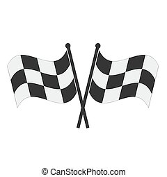 Crossed checkered flags. Finish user interface race icon, stock vector illustration