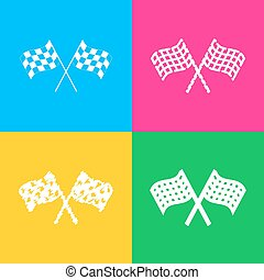 Crossed checkered flags logo waving in the wind conceptual of motor sport. Four styles of icon on four color squares.