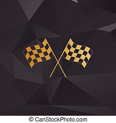 Crossed checkered flags logo waving in the wind conceptual of motor sport. Golden style on background with polygons.