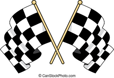 Crossed checkered flags waving in the wind - Crossed black...
