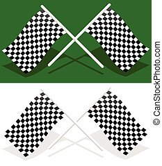 Crossed checkered racing flags with transparent shadows