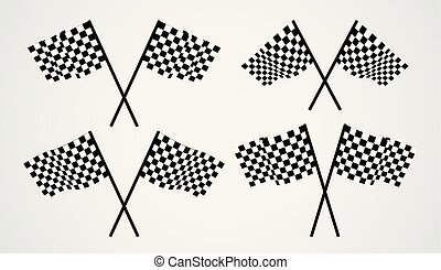 Crossed checkered vector flags