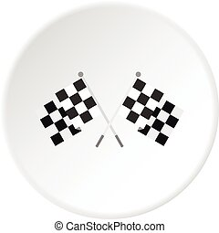 Crossed chequered flags icon circle