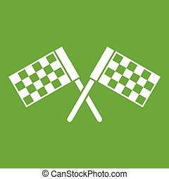 Crossed chequered flags icon green