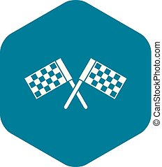 Crossed chequered flags icon, simple style
