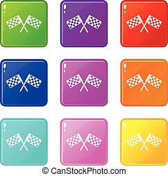 Crossed chequered flags set 9