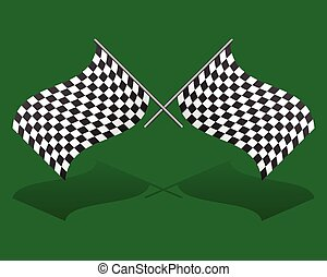 Crossed, chequered racing flags. Editable vector graphics