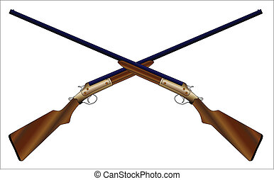 Crossed Chotguns - Two typical 12 guage shotguns over a...