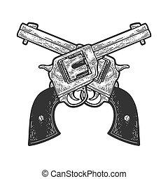 crossed cowboy revolvers pistols sketch engraving vector illustration. T-shirt apparel print design. Scratch board imitation. Black and white hand drawn image.