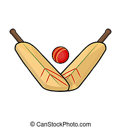 Crossed cricket bats with ball icon in cartoon style isolated on white background. Australia symbol stock bitmap, rastr illustration.