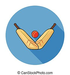 Crossed cricket bats with ball icon in flat style isolated on white background. Australia symbol stock vector illustration.