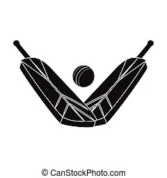 Crossed cricket bats with ball icon in black style isolated on white background. Australia symbol stock vector illustration.