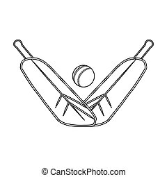 Crossed cricket bats with ball icon in outline style isolated on white background. Australia symbol stock bitmap, rastr illustration.