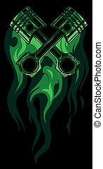 crossed engine pistons, banner and flame design vector