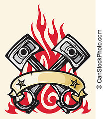 crossed engine pistons, banner and flame tattoo design (two pistons, engine pistons, crossed pistons)