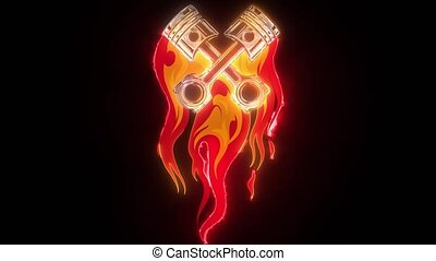 crossed engine pistons, banner and flame tattoo design