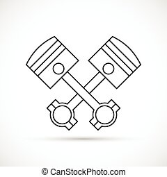 Crossed engine pistons outline icon