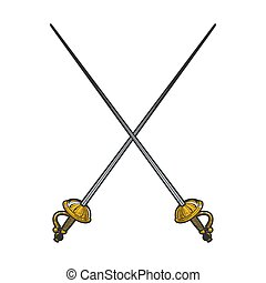 Crossed epee swords color sketch engraving vector illustration. T-shirt apparel print design. Scratch board imitation. Black and white hand drawn image.