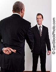 Crossed Fingers At Handshake - crossed fingers at handshake...