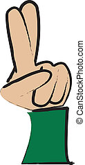 Crossed Fingers - simple cartoon drawing of a hand with ...