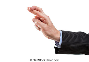 Crossed fingers, gesture on white isolated background