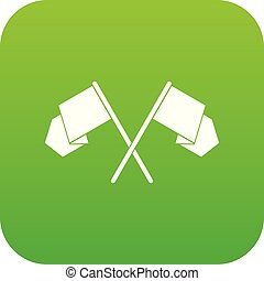Crossed flags icon digital green