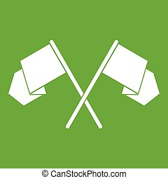 Crossed flags icon green