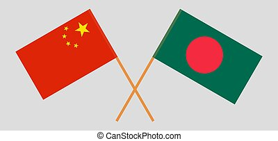 Crossed flags of Bangladesh and China