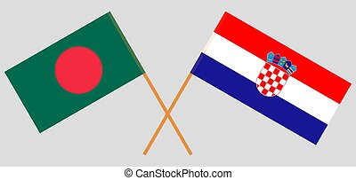 Crossed flags of Bangladesh and Croatia