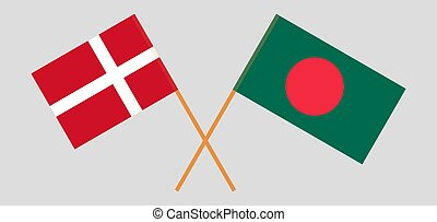 Crossed flags of Bangladesh and Denmark