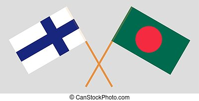 Crossed flags of Bangladesh and Finland.