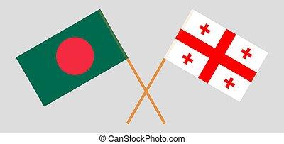 Crossed flags of Bangladesh and Georgia