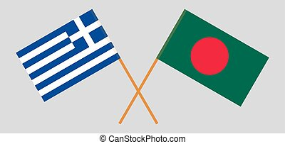 Crossed flags of Bangladesh and Greece